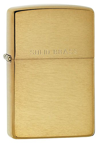 Personalized Message Engraved Customized Basic and Best Styles Zippo Indoor Outdoor Windproof Lighter (Brushed Solid Brass) (Lighter Solid Zippo Brass)