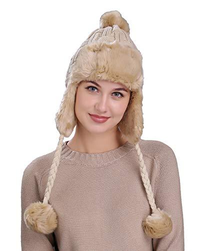 Home Prefer Womens Girls Earflap Hat Faux Fur Knit Hat Warm Snow Ski Trapper Hat (Beige (Cable))