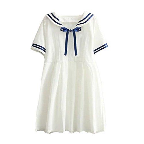 BLESSI Women's Sailor Seaman Neck Dress 2 Colors Bowknot Sweet Dress (White)