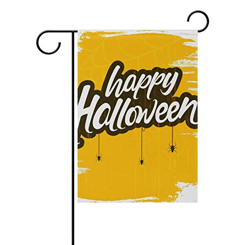 YATELI Garden Flag 28x40 Inches Double Sided Halloween Word Scary Spider Banner for Outdoor Lawn -