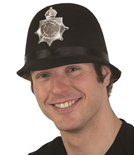 Felt Black British Bobby Policeman Helmet Hat Police Officer Costume Accessory]()