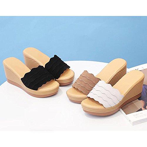 dimensioni tacco Colore Sandali Estate Sandali Colore XIAOLIN Fashion pesante facoltativo Nero Sandali estate da con formato tacco donna Sandali con tacco con Sandali a fondo alto EU Scrub Bianca aFqqSx