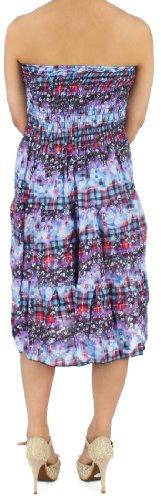 Maxi Vestito Motivo Corto Floreale Dry77 Senza Blu Maniche PxXzOY