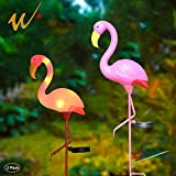 W-DIAN Solar Lights, for Outdoor Pathway Metal Yard Art Plastic Metals Pink Flamingo Patio, Path, Lawn, Garden, Yard Decor,Outside Post Lighting Lamps Original Featherstone Flamingo's (2 Pack)