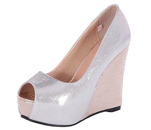 Easemax Womens Elegante Peep Toe Platform Zeppa Slip On Pompe Scarpe Argento