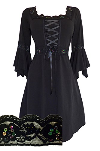 Dare to Wear Renaissance Corset Dress: Victorian Gothic Boho Plus Size Witchy Women's Gown for Everyday Halloween Cosplay Festivals, Starling (Elizabethan Dress)