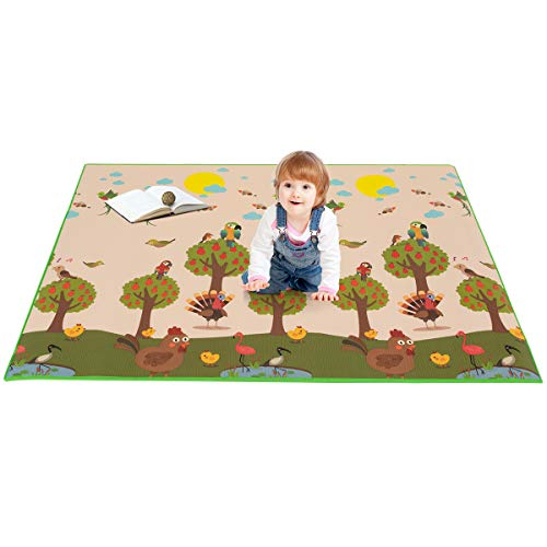 Costzon Baby Play Mat, Folding XPE Thick Foam Playmat, Non-Slip Waterproof Reversible Crawl Mat, Portable Double Sides Activity Mat 79 x 59
