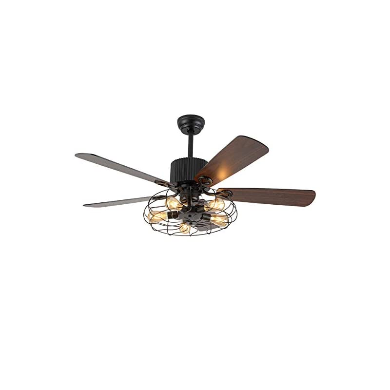 Retro Industrial Ceiling Fan Light 52 Inch 5-Lights E27 Fixture for Restaurant Living Room Bedroom Create Iron Cage…