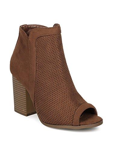 Alrisco Textured Faux Suede Peep Toe Block Heel Ankle Bootie HE86 - Tan Faux Suede (Size: 7.5)