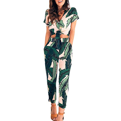 Euone Womans Romper Clearances, Womens Leaves Print V-neck Halter Sleeveless Ruffled One-piece Trousers Jumpsuit