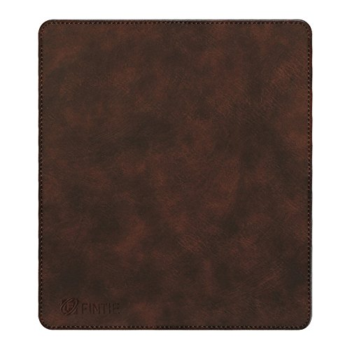 Fintie Mouse Pad With Premium PU Leather Surface [Non-slip] Stitched Edges 8 x 9 Inches, Dark Brown