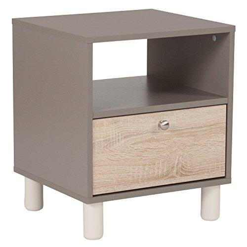 (Flash Furniture Montclair Collection End Table in Gray Finish with Sonoma Oak Wood Grain Drawer)