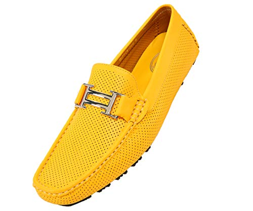 (Amali Men's Smooth and Perforated Driving Moccasin Casual Loafer Driving Shoes, Easy Comfortable Slip On Yellow)