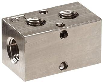 "Polyconn PCM10-125-02NP Nickel Plated Aluminum Manifold, 1/4"" NPT Female x 1/8"" NPT Female, 2 Stations"