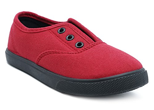Charles Albert Slip-On Laceless Fashion Sneakers - Sizes for Girls and Boys - Canvas Upper & Rubber Sole (2 Little Kids, Red)