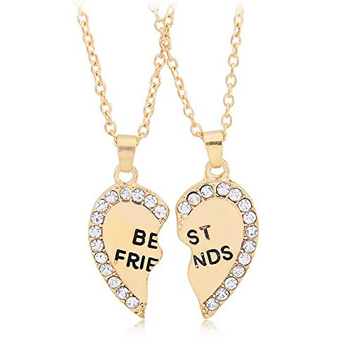 ODETOJOY Best Friends Necklace for 2 BFF Broken Heart Necklace Rhinestone Bestfriends Engraved Letters Pendant (Gold)