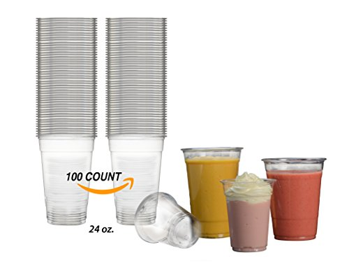 Disposables To Go CRYSTAL CLEAR PET Plastic 24 oz Cups [100 Count]