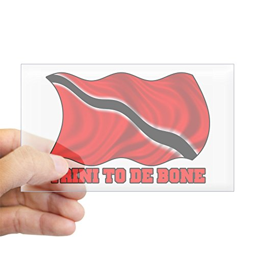 (CafePress Trini to de bone W/Flag Sticker (Rect.) Rectangle Bumper Sticker Car Decal)