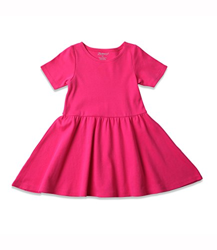 Cotton Short Sleeve Forever Dress 12M (6-12 Months), Fuchsia (Dress Zutano Baby)
