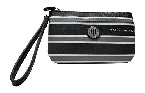 Tommy Hilfiger Hayden Stripe Wristlet (Black / Grey / - Sale Tommy Handbags On Hilfiger