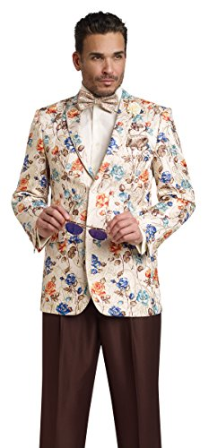 EJ Samuel Floral Print Mens Blazer Ivory Dress Sports Mens Blazer Jacket J15 Summer Top (XXL Size 50'' -52'' Chest) by E. J. Samuel