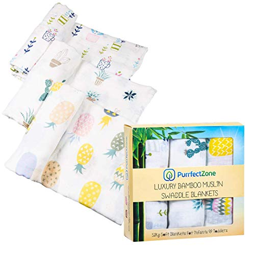 (PurrfectZone Silky Soft Large Bamboo Muslin Swaddle Blankets (Neutral, Pineapple) )