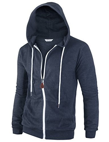 Tov Nine Mens Cotton Lightweight Slim Fit Pocket Zip-up Hoodie Jacket Heather Navy L by Tov Nine