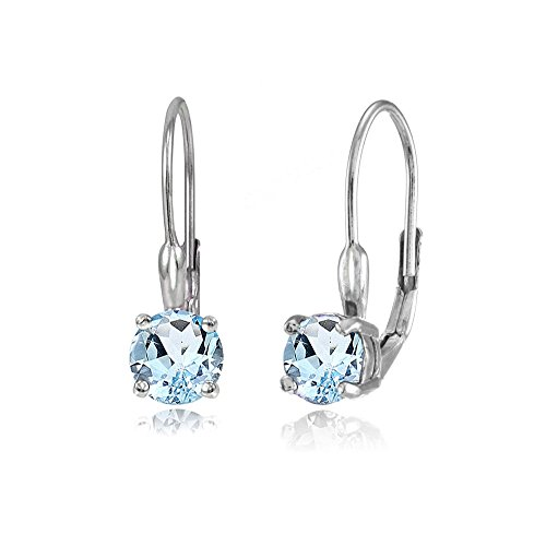 - Sterling Silver Blue Topaz 6mm Round Leverback Earrings