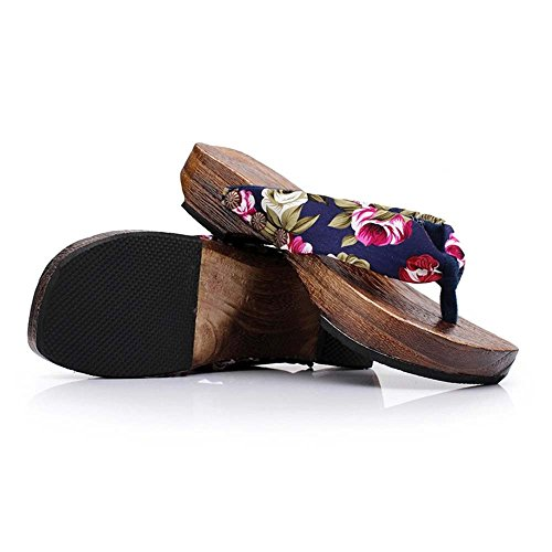 Womens Fashion Bohemia Comfy Platform Sandal Shoes Wooden Wedges Sandal Roman Slippers Sandals Beach Travel Shoes Blue (Jessica Platforms Leather)