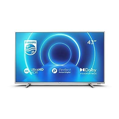 Philips 43PUS7555/12 Televisor 4K UHD de 108 cm (43 Pulgadas) (4K UHD, P5 Picture Engine, Dolby Vision, Dolby Atmos, HDR 10+, Saphi Smart TV, HDMI, USB), Color Plata (Modelo de 2020/2021) a buen precio