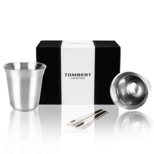 - 170mL (5.5 Ounce) Stainless Steel Espresso Cups Double Walled Vacuum Insulated With 2 Demitasse Spoons - Set Of 2 Demitasse Cups By Tombert
