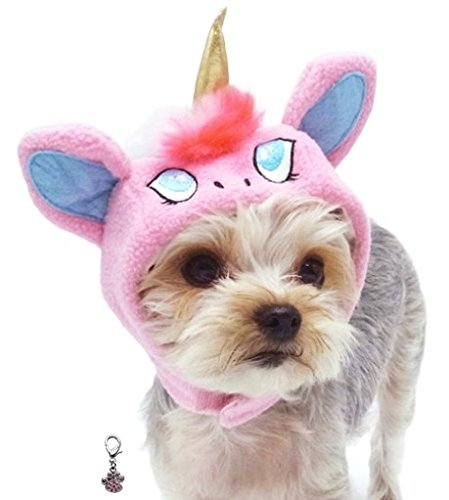 (Plush Unicorn Character Themed Hat with Clip on Charm for Dogs - Unicorn Hat - Sizes XS Thru XL (Pink Unicorn, X-Large))