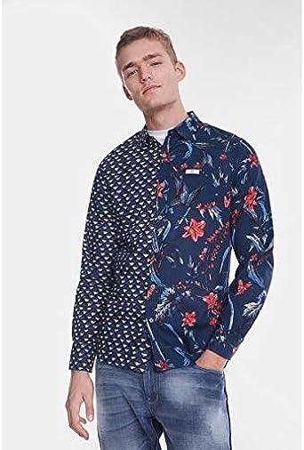 Desigual – Camisa normal estampada mitad – azul y naranja: Amazon.es: Ropa y accesorios