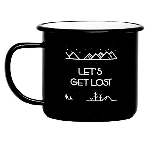 (Camp Vibes | Let's Get Lost | Enamel Camping Coffee Mug (450ml) | 2-Sided Unique Geometric Design | Coffee, Tea, Beer, Wine, Perfect Any Time Day)