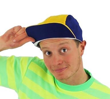 dfbea1935f6f6 RETRO CAP FANCY DRESS 90 S LOOK BASEBALL CAP BLUE   YELLOW PEAK HAT ...