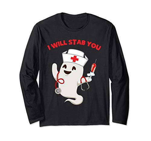 Homemade Halloween Decorations For Home (I will stab you Funny Nurse Halloween Costume Gift Womens Long Sleeve)