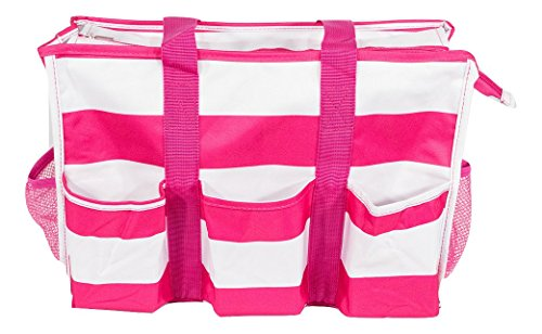 7-Pocket Tote Bag With Zipper (Pink Stripe)