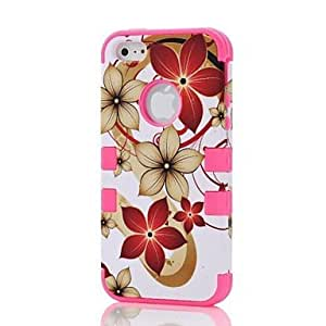 LX 2 in 1 Hawaii Flower Robot Style PC and Sillcone Composite Case for iPhone 5/5S Protective Case Color Pink