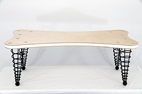The Dog Bone Bench from Spiral Cone Legs, Un-upholstered, up to 8-feet in length!