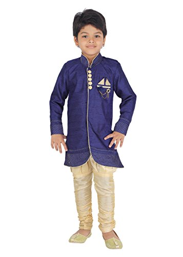 Ahhaaaa Kids Ethnic Indian Festive and Party Wear Sherwani and Breeches Set for Boys Blue