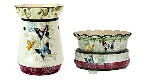 Decorative Butterfly Electric Candle Warmer 2piece Gift Set - Wax Melter for for Scents Candles Scented Cubes - Fragrance Air Freshener Odor Eliminator