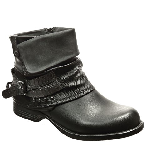 e0b67fa0e05 Angkorly - Chaussure Mode Bottine motard cavalier femme peau de serpent.