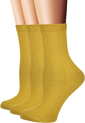 Flora&Fred Women's Flat Knit Cotton Crew Socks, Solid Color,