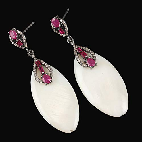 Mother Pearl Of Ruby Earrings - 925 Sterling Silver Genuine Ruby and Mother of Pearl Dangle Earrings Pave Diamond Gemstone Handmade Jewelry Christmas Gifts