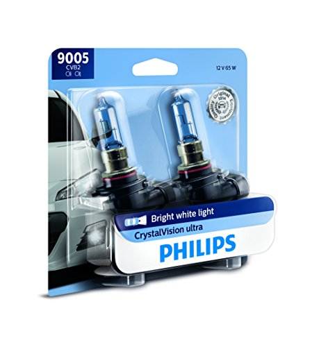 (Philips 9005 CrystalVision Ultra Upgrade Bright White Headlight Bulb, 2 Pack)