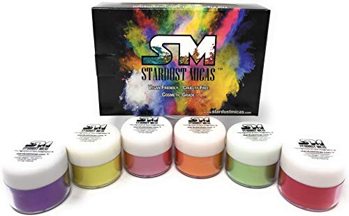 Stardust Mica Pigment Powder Cosmetic Grade Colorant for Makeup, Soap Making, Epoxy Resin, DIY Crafting Projects, Bright True Colors Stable Micas Batch Consistency Tested Color Set #2