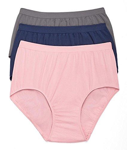 Bali Comfort Revolution Brief 3-Pack, 8/9, (Microfiber Seamless Brief Panty)