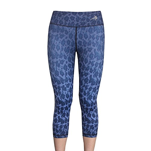 Compression Capri Pants For Women (Leopard Blue - XL) 3/4 Length Yoga Running Workout Exercise Leggings
