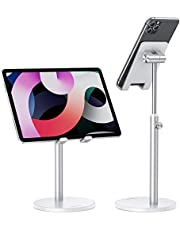 Cell Phone Stand, OMOTON Angle Height Adjustable Phone Stand Compatible with iPhone 11/Xr/Xs Max, All Smartphones and All Tablets(4-12.9''), Silver