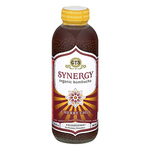 GT'S ENLIGHTENED KOMBUCHA Synergy Organic Kombucha Tea, Cherry Chia, 16.2 Ounce (Pack of 12) (Chia Drink Synergy With)
